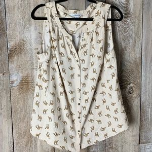 Croft & Barrow Camel Graphic Print Button up Tank